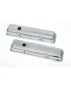 Chevy Valve Covers, Small Block, With Baffle, Short Design,Chrome, With Chevrolet Script & Bowtie Logo, 1955-1957