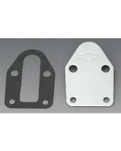 Chevy Small Block Chrome Bowtie Fuel Pump Block-Off Plate, 1955-1957