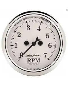 Chevelle & Malibu Tachometer, 7000 RPM, Old Tyme White, AutoMeter, 1964-72