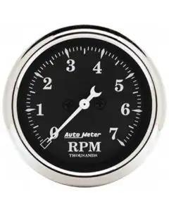 Chevelle & Malibu Tachometer, 7000 RPM, Old Tyme Black, AutoMeter, 1964-72