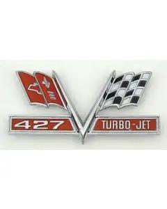 Full Size Chevy Front Fender Flags Emblem, 427ci Turbo-Jet,1966-1967